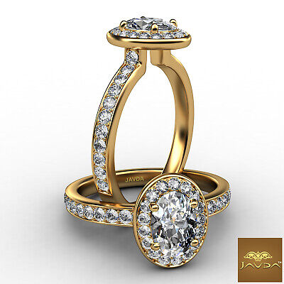 Halo Sidestone Pave Set Oval Diamond Engagement Ring Cathedral GIA E VS1 0.95Ct