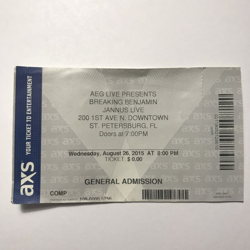 Breaking Benjamin Jannus Live St Petersburg Florida Concert Ticket Stub Aug 2015