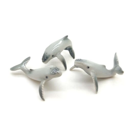 3 Humpback Whale Siblings Fish Ceramic Figurine Animal Miniature Statue - CQM050