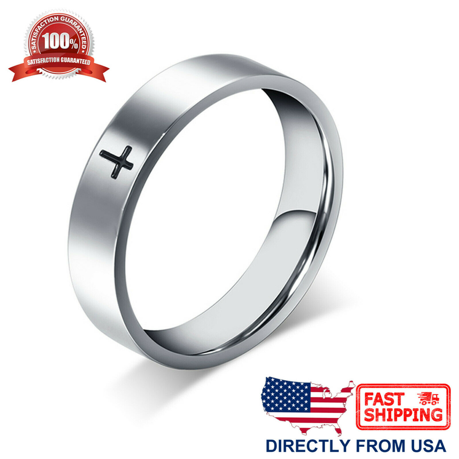 Stainless Steel Cross Ring Polished Comfort Fit Men's & Women's Wedding Band Jewelry & Watches