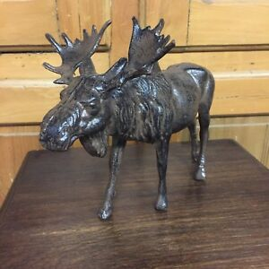 Cast Iron Moose Statue Figure Art Doorstop Elk Cabin Lake Home Decor Desk Deer