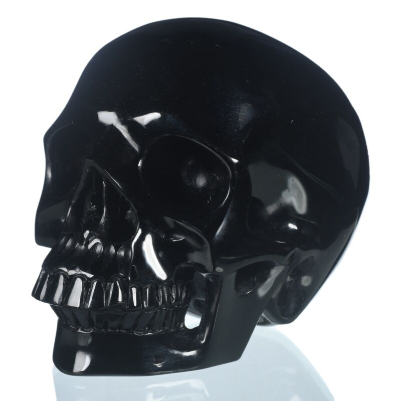 """6.02""""Natural Black Obsidian Carved skull Collectibles Metaphysical Healing#32S71"""