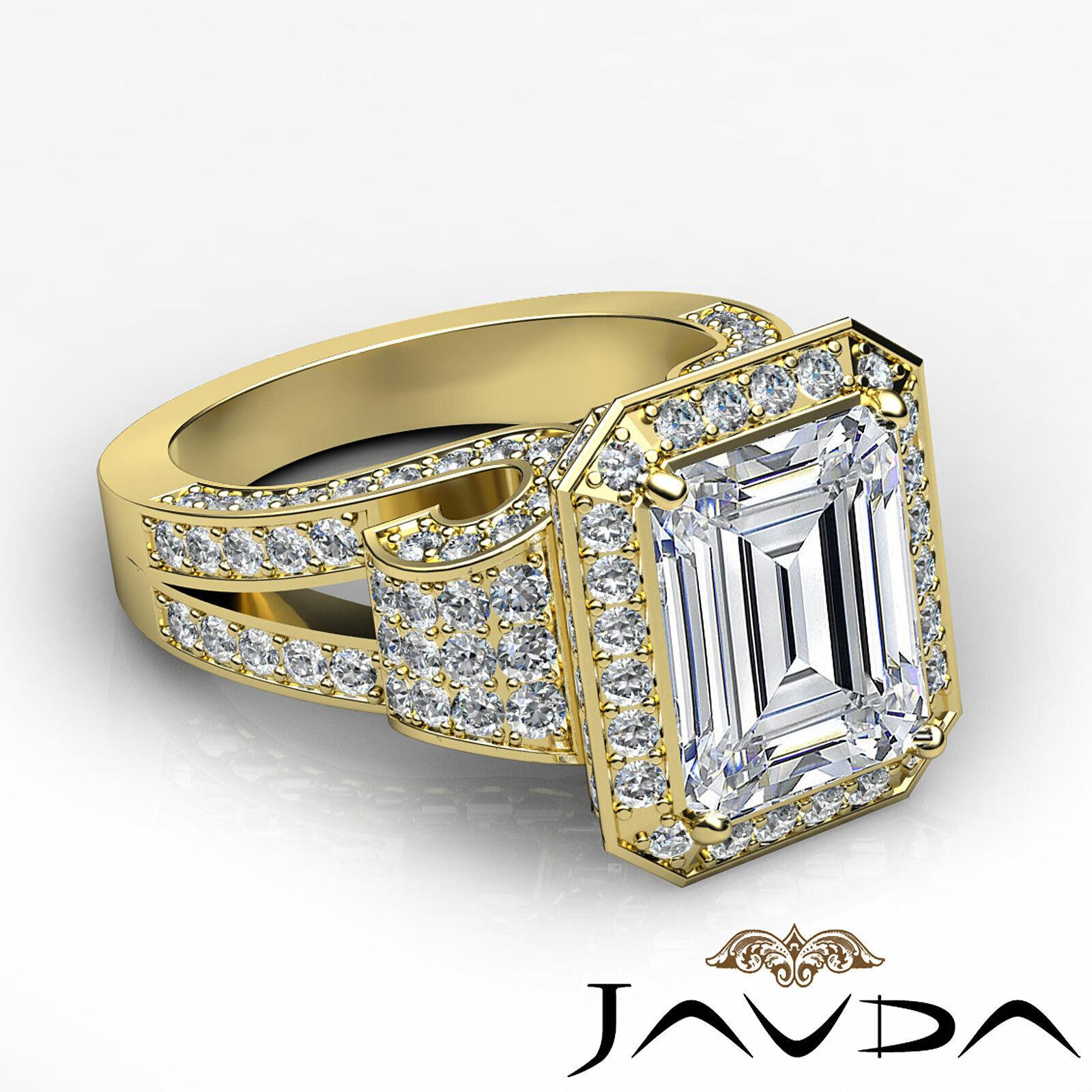 4.4ctw Antique Vintage Halo Emerald Diamond Engagement Ring GIA I-VS1 White Gold 9