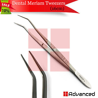 Dental Meriam Tweezers Cotton Plier 16cm Nursing Forceps Dressing Serrated Tips