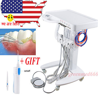 Mobile Dental Dental Delivery Cart Turbine Unit 4 Hole W Free Detnal Oral Floss