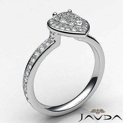 Cathedral Halo Pave Set Pear Cut Diamond Engagement Ring GIA Color F VS1 1.17Ct 1