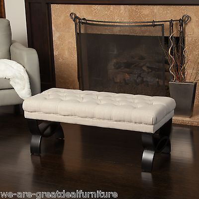 Living Room Furniture Beige Tufted Fabric Ottoman Bench w/ Crossed Legs