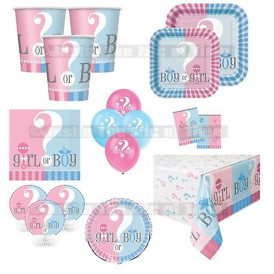 GENDER REVEAL Baby Shower Boys Girl Unisex Party Supplies Tableware Decorations  ()