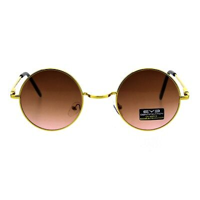 Gold Round Circle Frame Sunglasses Spring Hinge Ombre Color Lens UV (Gold Circle Lenses)
