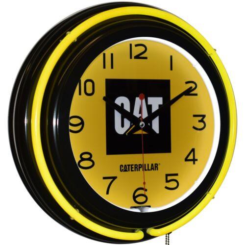"Caterpillar CAT 15"" Yellow Double Neon Clock Man Cave Decor"