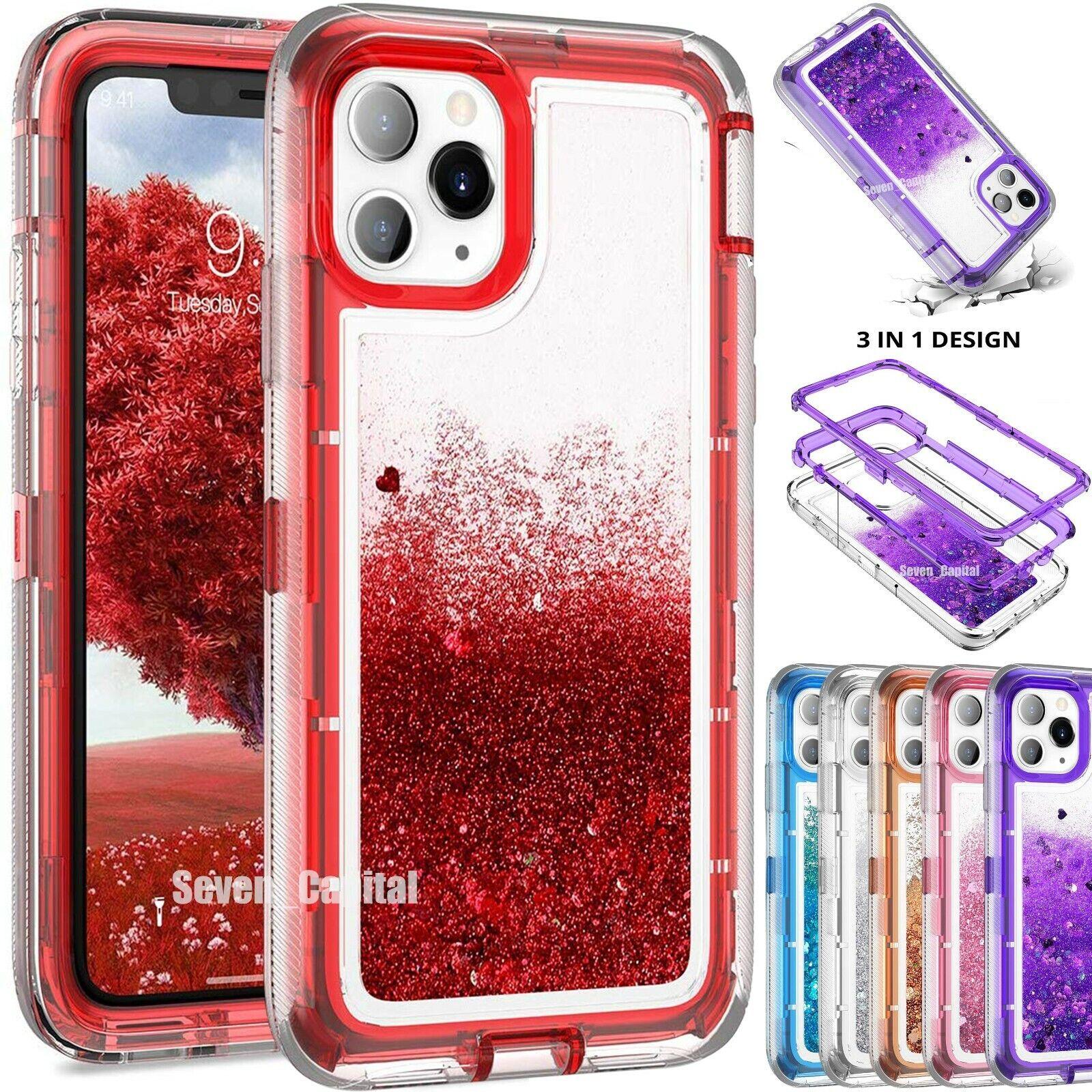 как выглядит For iPhone 11 Pro Max Defender Liquid Glitter Shockproof Case Fit Otterbox Clip фото