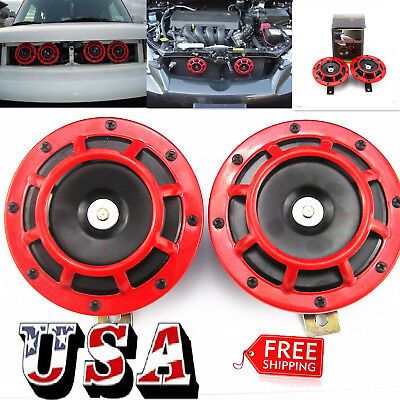 Super Loud Blast Tone Grill Mount 12V Electric Compact Car Horn 335 400Hz Red