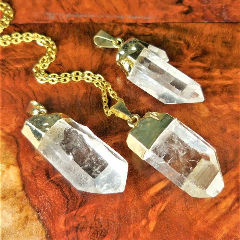 Bulk Wholesale Lot 5 Pieces Quartz Crystal Points Gold Pendant Necklace Supply