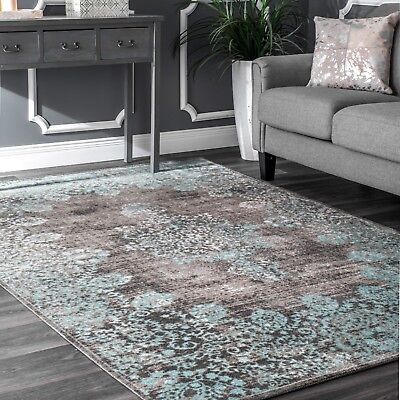 nuLOOM Traditional Vintage Distressed Corene Area Rug in Gray and Aqua - Grey And Turquoise Bedroom