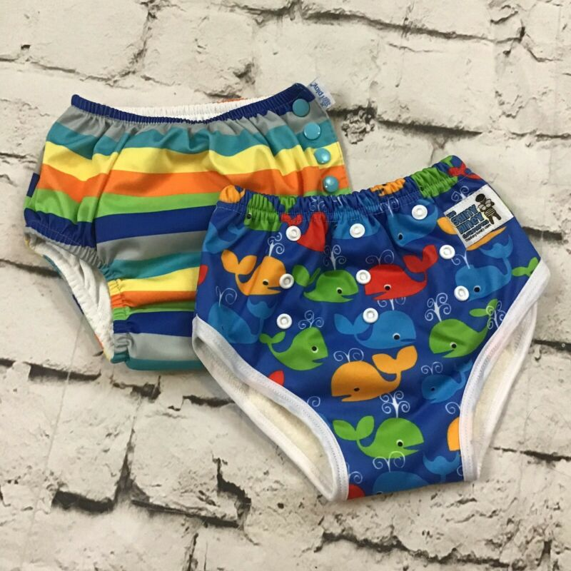 IPlay Shiny Hiney Boys Swim Diapers Sz 4T Lot Of 2 Colorful Absorbent Reusable