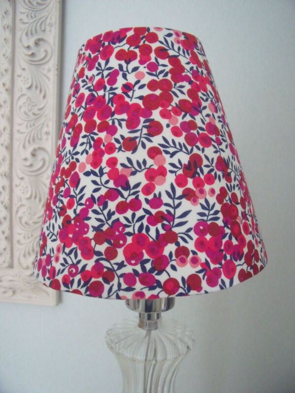 Handmade+Candle+Clip+Lampshade+Liberty+Wiltshire+Berry+Red+fabric