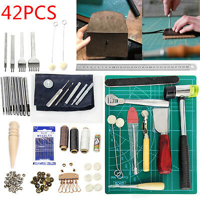 42Pcs Leather Craft Tools Sewing Stitching Punch Carving Work Saddle Groover Kit