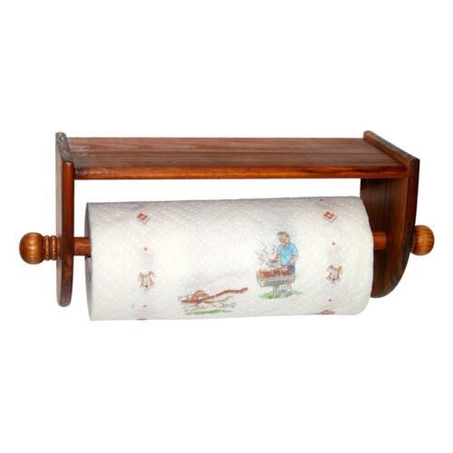 Home Basics Pine Wood Paper Towel Holder Easy Wall Mount Home & Garden