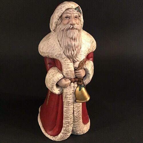 """BELSNICKEL SANTA FIGURINE SIGNED 9""""H CERAMIC GOLD BELL VINTAGE FATHER CHRISTMAS"""