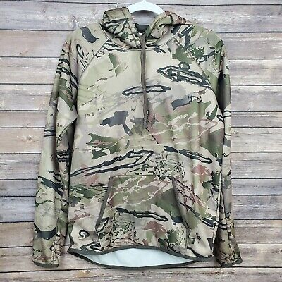 Under Armour Storm Womens Cold Gear Green Camo Pullover Hoodie Jacket Medium