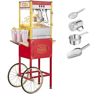 Zokop 8oz Cinema Bar Vintage Style Popcorn Machine Maker Popper Cart With Kattle
