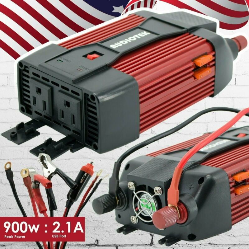 Audiotek 900W Watt Power Inverter DC 12V AC 110V Car Converter USB port Charger