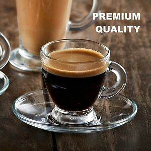 12X High Quality Glass Espresso Coffee Shot Cup & Saucer Set with Gift Box
