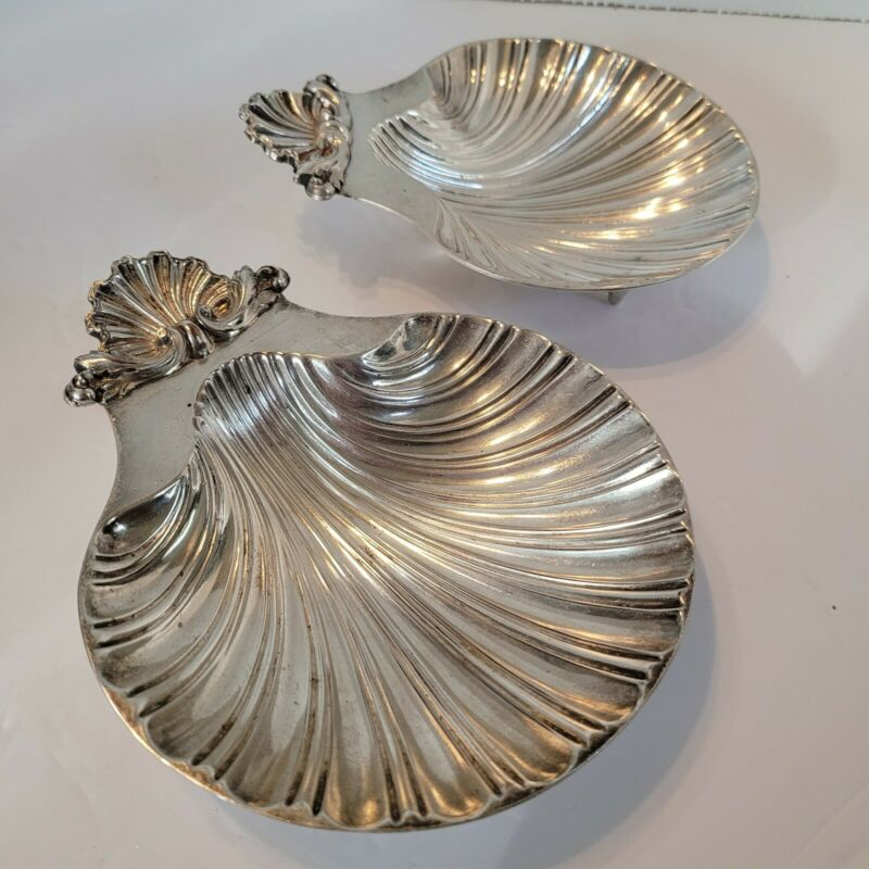 2 Vintage Bell Mark Silverplated Shell Dish from Original Old Sheffield Dies Lot