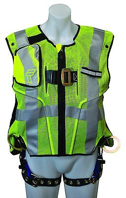Falltech 7018lxl Lime Hi-vis Vest And Premium Harness Lxl