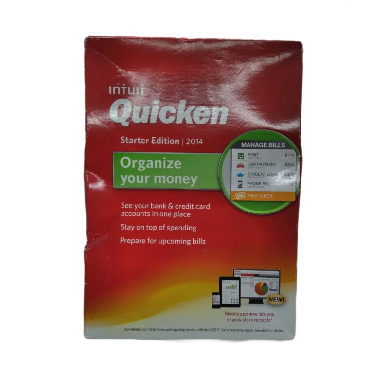 Intuit Quicken Starter Edition 2014 Organize your Money NEW Sealed