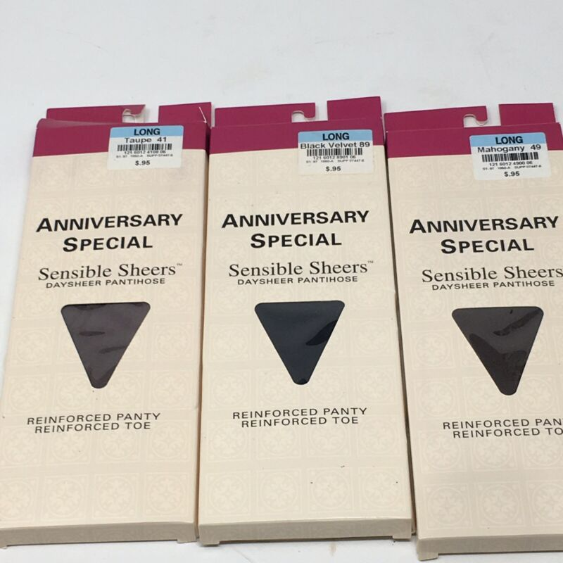 3 Vintage New Pantyhose Sheer Toes Retro Package Sz Long Black Mahogany Taupe