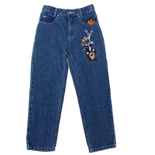 Vintage Warner Bros Looney Tunes Embroidered Jeans Kids Size 8 Taz Tweety Bugs