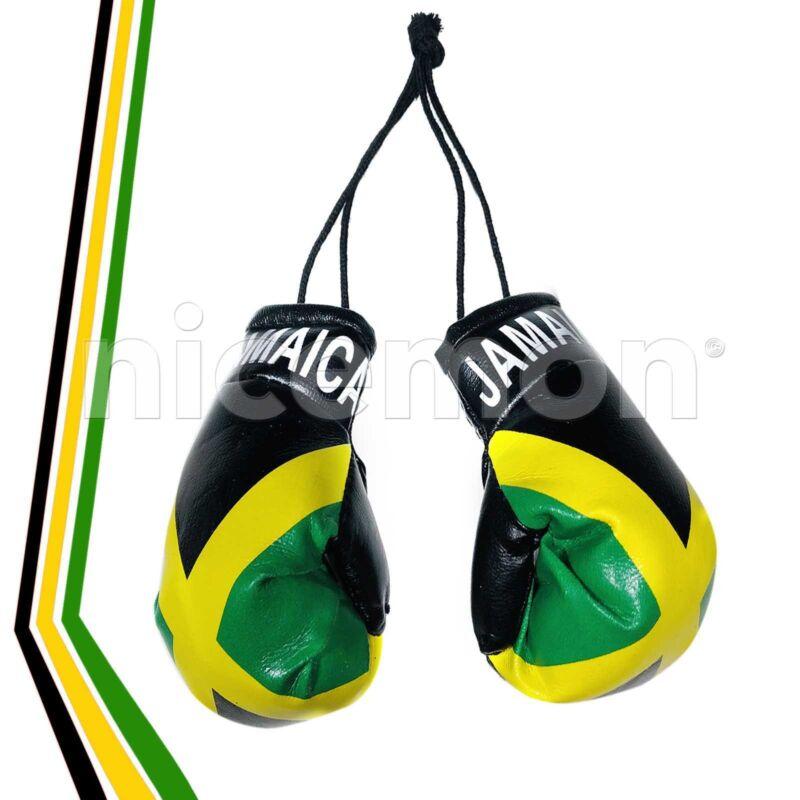 "Jamaica Mini Boxing Gloves Flag Car Rearview Ornament Jamaican Flag Reggae 4"""