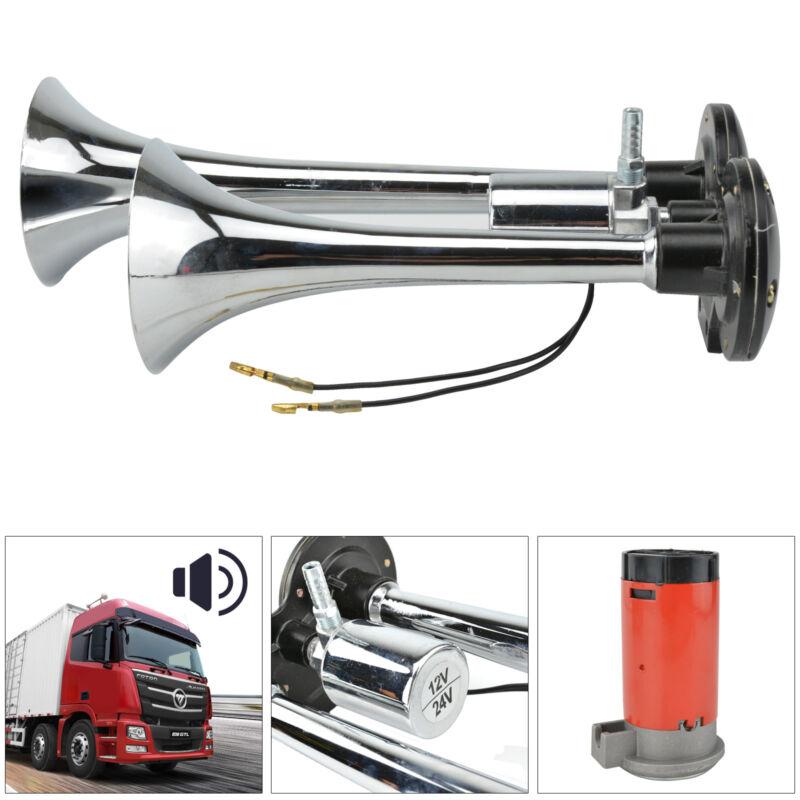 2-Klang Fanfare Druckluft Horn Hupe Nebelhorn Chrom Kompressor 12V LKW Bus