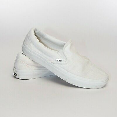 Vans Classic Slip On True White Skateboarding Shoes Size 7.5 (721454)