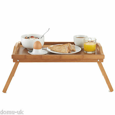 Portable Wooden Bamboo Food Serving Breakfast in Bed Lap Tray - Folding Legs