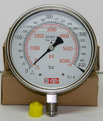 Pressure Gauge: Glycerin Filled, Dual Scale 0-400 BAR & 0-6000 PSI, 150 mm Dial