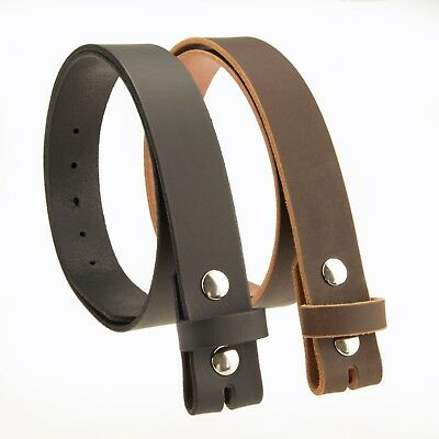 "BUFFALO LEATHER CASUAL BELT STRAP_No Buckle_1-1/2""_Amish Handmade BLACK - BROWN"