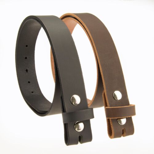"""Buffalo Leather Casual Belt Strap_No Buckle_1-1/2""""_Amish Handmade Black - Brown"""
