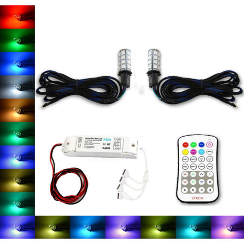 H3 27 SMD RGB Multi-Color Changing Shift Led Fog Light DRL Bulb M7 Pair