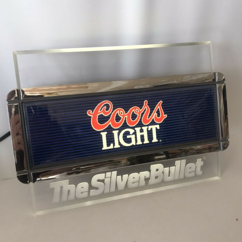 Vintage 1988 Coors Light Silver Bullet Acrylic Lighted Beer Sign Bar Garage