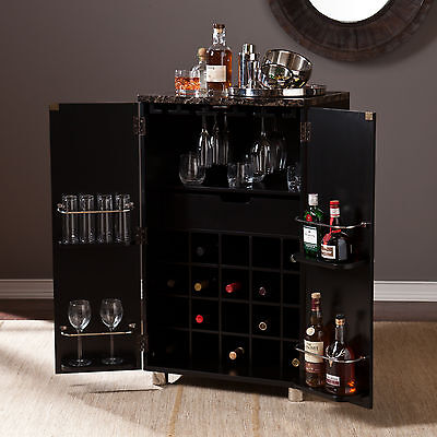 Black Bar Cabinet (CWB14901 BLACK CONTEMPORARY WINE BAR CABINET WITH FAUXED MARBLE)