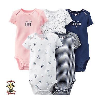 CARTER'S Bodysuits 5-Pack Short Sleeve Set Newborn