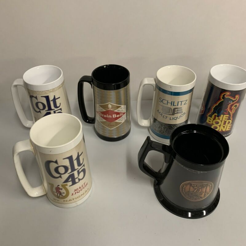 Lot of 6 Vintage Thermo Serv Beer Mugs from the 1970's Colt, Schlitz, Michelob