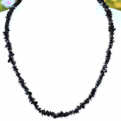 "CHARGED  Himalayan Black Tourmaline 36"" Necklace + Baby Selenite Puffy Heart"