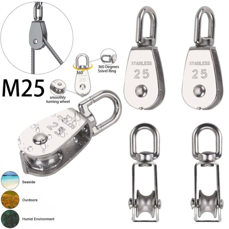 4x Umlenkrolle Seilrolle Blockseilrolle Seilwinde Flaschenzug 304 Edelstahl M25