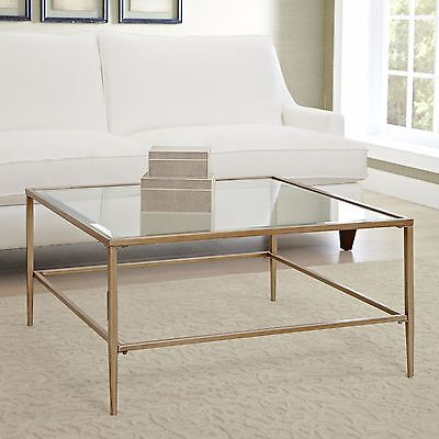 Glass Top Metal Finish -  Coffee Table Glass Top Square Gold Finished Metal Living Room Furniture New