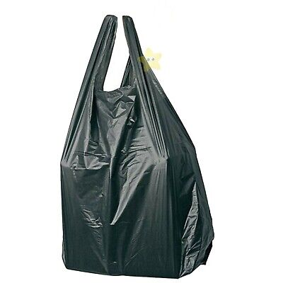 300 x BLACK PLASTIC VEST CARRIER BAGS 11x17x21