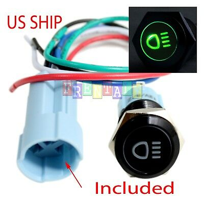 Bsf 16mm Green Driving Led 12v Latching Push Button Power Switch Waterproof