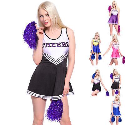 Karneval Cheerleading Uniform Cheer-Leader Fastnacht Kostüm mit Pom Poms